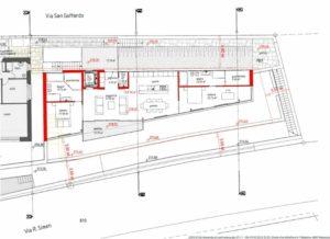 Bauplan bzw. Grundriss der Eigentumswohnung im Neubau, gut zu sehen, die Terrasse in der Mitte der Wohnung